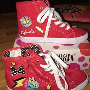 Disney Minnie Mouse High Top Tennis Shoes Red